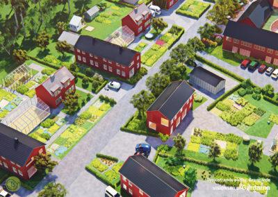 Visionsbild: Tomter längs bygatan i norra delområdet